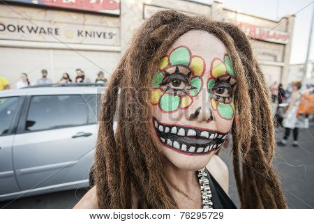 Woman With Dreadlocks In Dia De Los Muertos Makeup