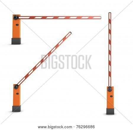 Red Turnpikes For Parking Or Construction.