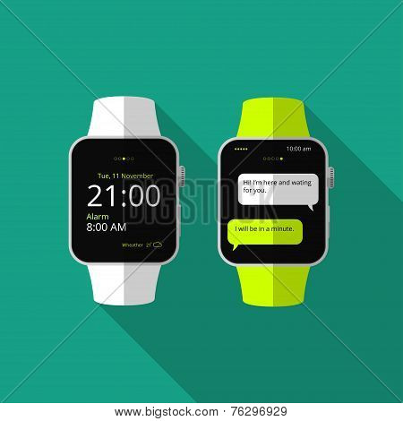 Flat smart watch with long shadow. Vector icon