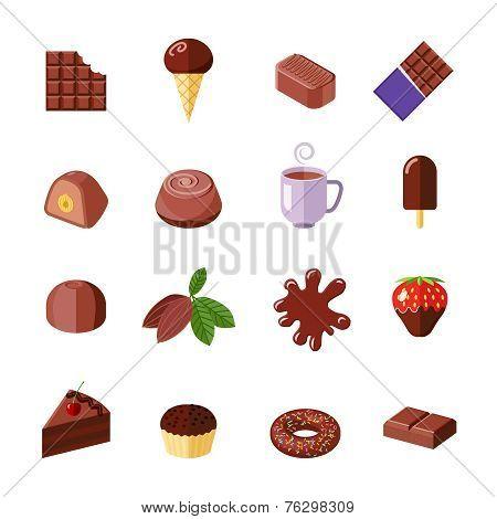 Chocolate icons flat