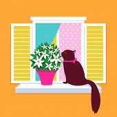 A cute cat sitting on a window sill next to a flower pot and smelling the flowers in springtime. poster