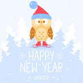 flat illustration for Christmas and New Year cute owl on skates with place for text poster