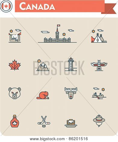 Set of the Canada traveling related icons