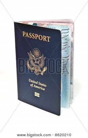 Open American Passport Isolated On White Background