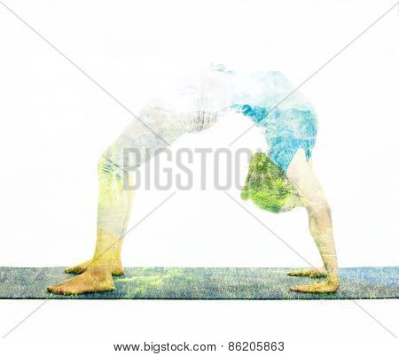 Nature harmony healthy lifestyle concept - double exposure image of  woman doing yoga asana Upward Bow Pose (intense backbend) (urdhva dhanurasana) asana exercise isolated on white background