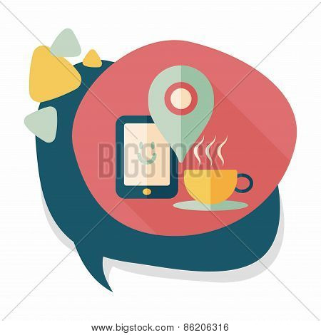 Coffee Flat Icon With Long Shadow, Eps10, When You Go To Coffee Shop, You Can Check Into Places And