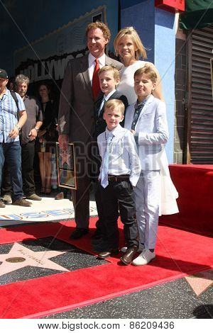 LOS ANGELES - MAR 24:  Will Ferrell, Viveca Paulin, Mattias, Axel and, Magnus Ferrell at the Will Ferrell Hollywood WOF Star Ceremony at the Hollywood Boulevard on March 24, 2015 in Los Angeles, CA