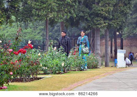 Chandigarh, India - January 4, 2015: Indian People Visit Zakir Hussain Rose Garden In Chandigarh