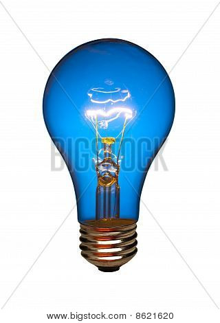 Blue lightbulb, isolated