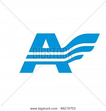 Letter A with wing - vector logo concept illustration. Letter A logotype. Abstract logo. Vector logo