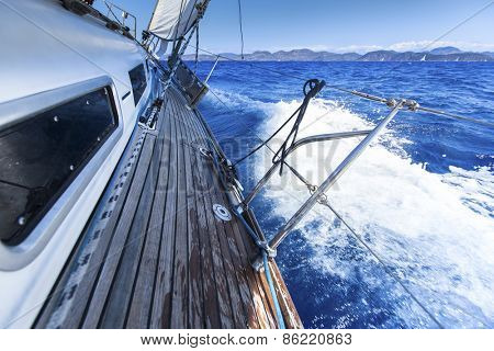 Sailing. Yacht in sailing regatta. Luxury yachts.