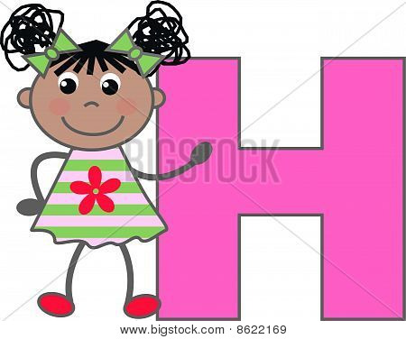 a girl with letter H