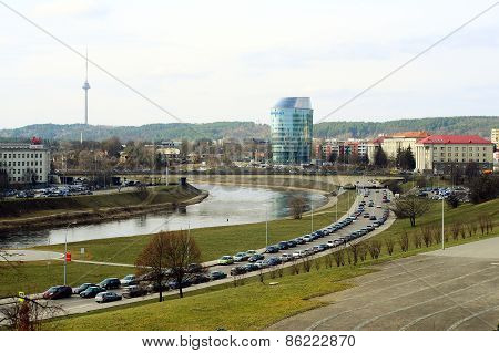 Vilnius City Panorama With Barclays Bank And Educology University