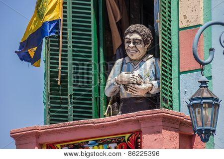 Statue Of Diego Maradona In La Boca In Buenos Aires