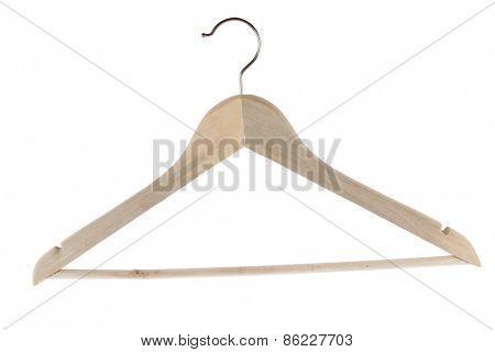 Wooden coat hanger isolated on plain background