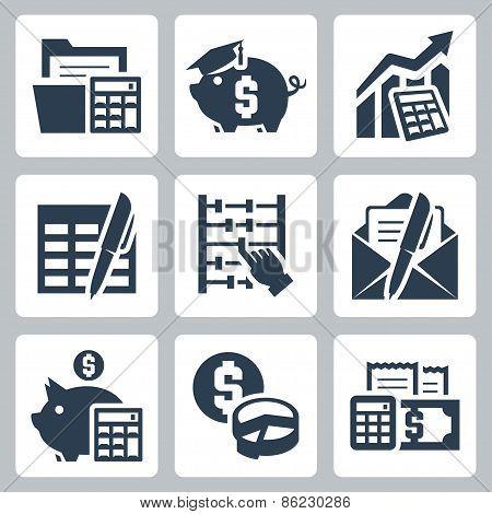 Budget, Accounting Vector Icons Set