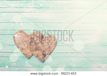 Hearts On  Turquoise Wooden Background