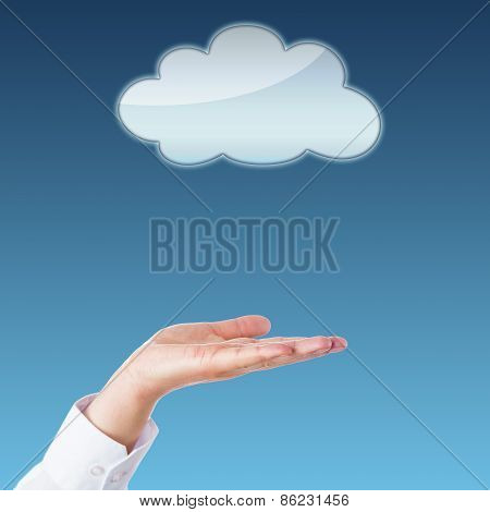 Empty Cloud And Open Palm With Copy Space.