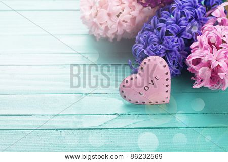 Background With Fresh Flowers Hyacynths And Heart