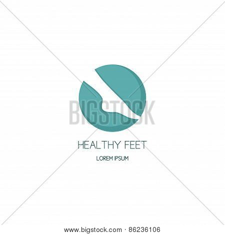 poster of It is a concept of logo of center of healthy feet in the form of a circle with a foot silhouette.