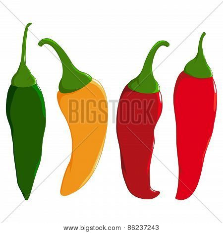 A set of hot chili peppers in four colors: red, green and yellow chili peppers. poster