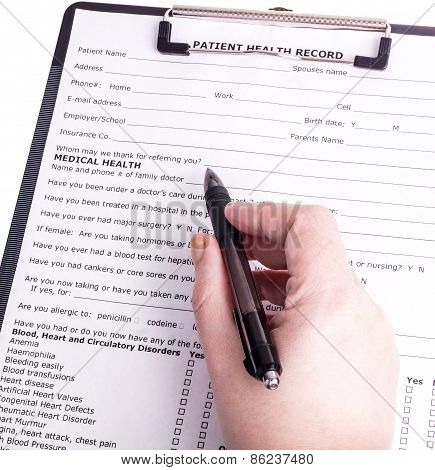 Health Care Person Ready To Write Patient Information