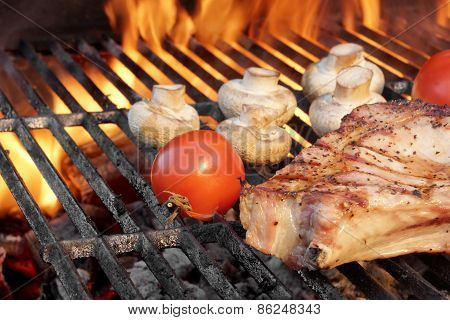 Steak And Vegetables Char-grilled Over Flaming Bbq Grill