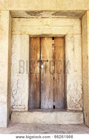Locked entrance of a room in Veerabhadra temple captured at Lepakshi, Andhra Pradesh, India