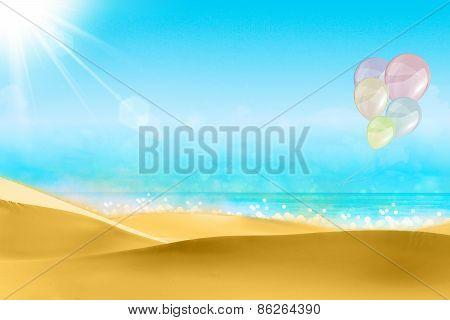 Balloons on a beach blue sky