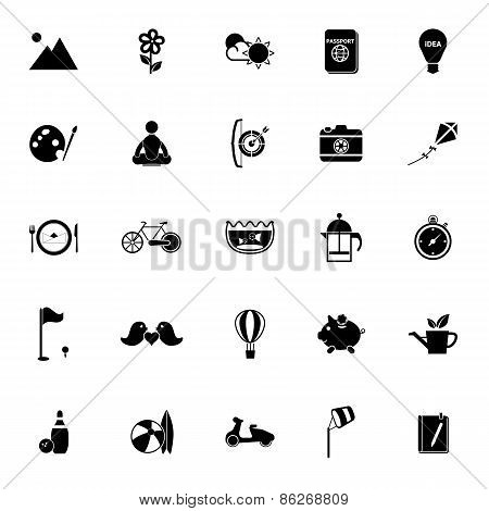 Slow Life Activity Icons On White Background