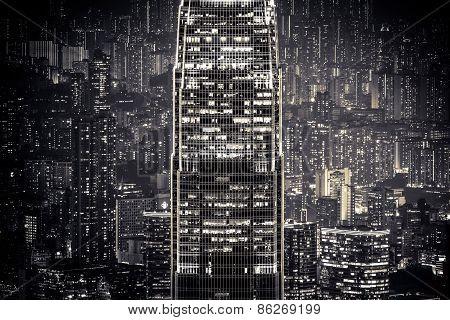 Abstract Night Cityscape. Hong Kong