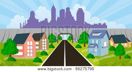 Cartoon illustration of a city suburb with road to downtown