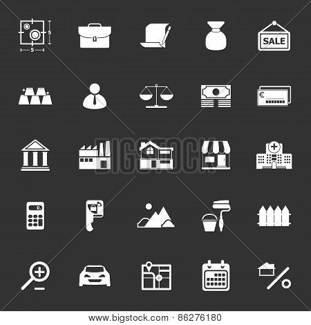 Mortgage And Home Loan Icons On Gray Background
