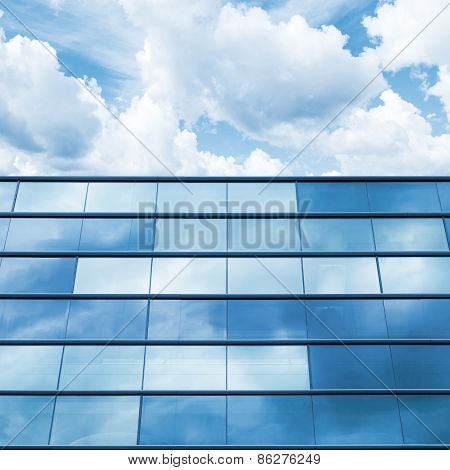 Blue Mirrored Glass And Cloudy Sky, Office Facade