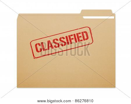 Classified brown folder file with paper showing with a lot of copy space. Isolated on a white background with clipping path. poster