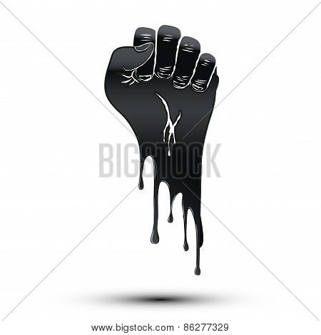 Symbol of clenched fist held in protest. Paint flow style.