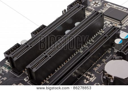 Electronics components on modern PC computer motherboard with PCI connector slot poster