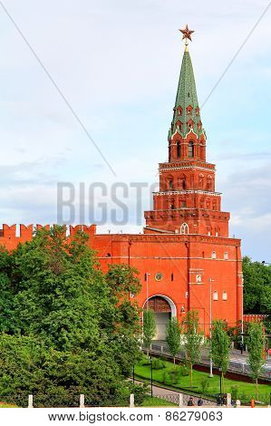 Photo of a Borovitskaya Tower of Moscow Kremlin Russia poster