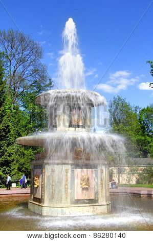 Roman Fountain In Petergof Palace, Russia