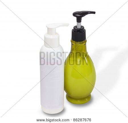 Two bottles white and of olive color with cosmetics on a light background poster