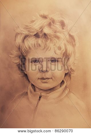 Child Portrait, Beautiful Detailed Drawing Of Little Boy