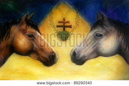 Two Horse Heads, Beautiful Detailed Oil Painting On Canvas