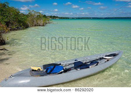 Beautiful Adventure At Tranquil Bacalar Lake. Riviera Maya, Mexico. Tropical Travel.