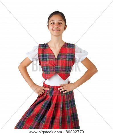 Teenager Dressed With Typical Clothes Red Plaid