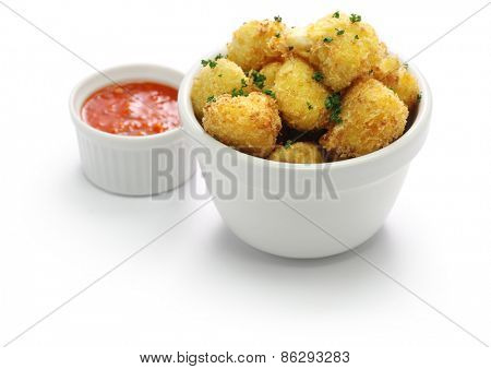 cauliflower bites, vegetarian food on white background