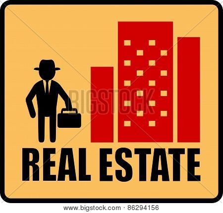 real estate symbol with man and city
