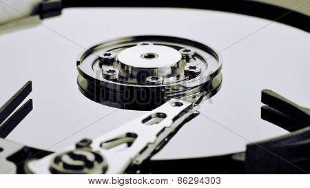 Close up of open computer hard disk drive (HDD) poster