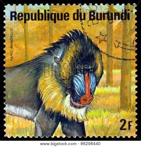 Vintage  Postage Stamp. Mandrill. Animals Burundi.