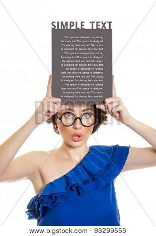Young Woman Holding Blank Pannel Or Board Over Her Head, Isolated On White. Copyspace