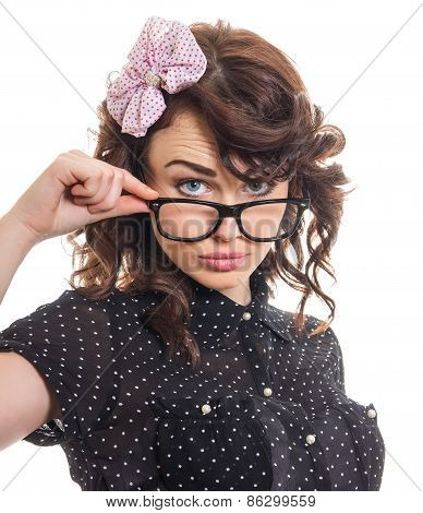 Serious Young Woman Looking Frontal An Weraing Spectacles, Isolated On White. Close Up Of Careful Pi